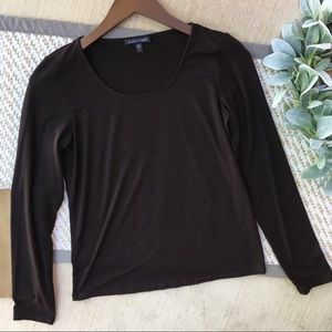 Eileen Fisher Black Scoop Neck Long Sleeve Top